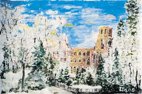 Schloss Heidelberg im Schnee