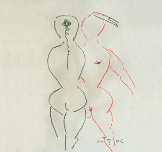 Zwei Frauen, bunte Kreide