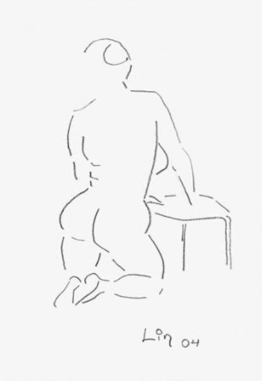 Rückenakt kniend