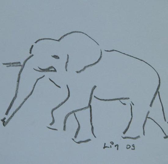 Elefant schreitend